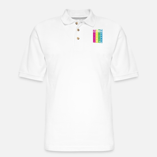 Cool Polo Shirts - Math Cool Quote - Men's Pique Polo Shirt white