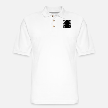 16bit Invader from Space: 16-bit, long, slim UFO - Men's Pique Polo Shirt