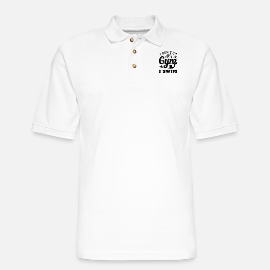 Funny Gym Polo Shirts - Swimming Fan Mermaid Lover Watersports - Men's Pique Polo Shirt white