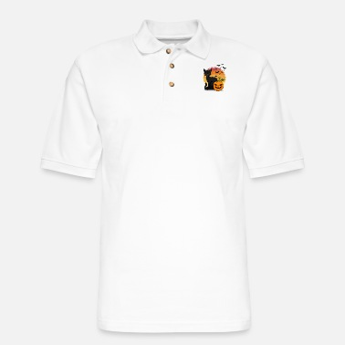 Cat and pumpkin Halloween T Shirt Design - Men's Pique Polo Shirt