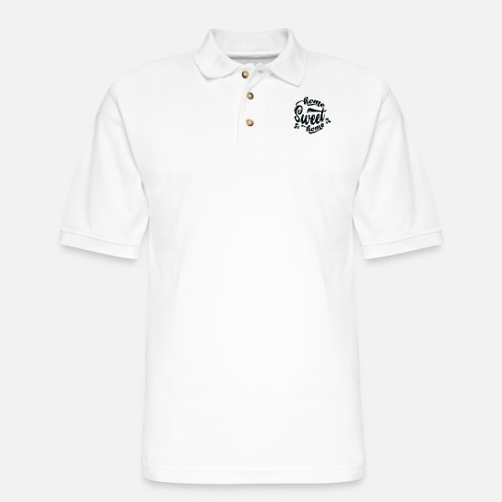 Quotes Polo Shirts - Home Sweet Home Quote Gift - Men's Pique Polo Shirt white