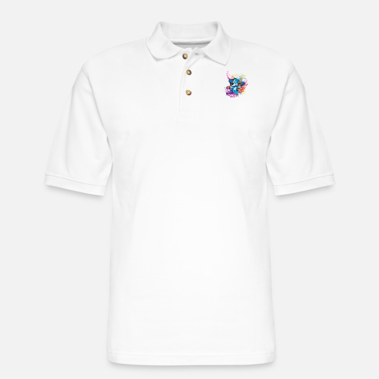 Love Polo Shirts - painter Artist Dog Color Splash Humor Cartoon - Men's Pique Polo Shirt white