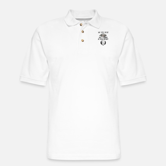 Rock Polo Shirts - Pet Rock IQ - Men's Pique Polo Shirt white