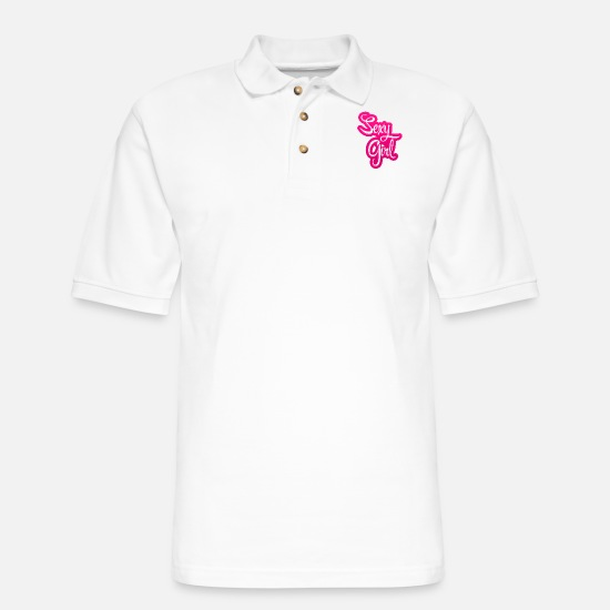 Provocation Polo Shirts - Sexy Girl - Men's Pique Polo Shirt white