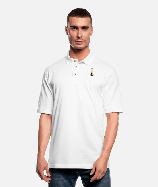 Bass Polo Shirts - Black Bass - Men's Pique Polo Shirt white