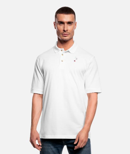 Guitar Polo Shirts - USA Music Note - Men's Pique Polo Shirt white