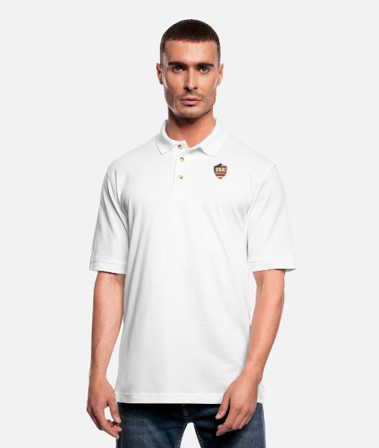 Heart Polo Shirts - USA guitars - Men's Pique Polo Shirt white