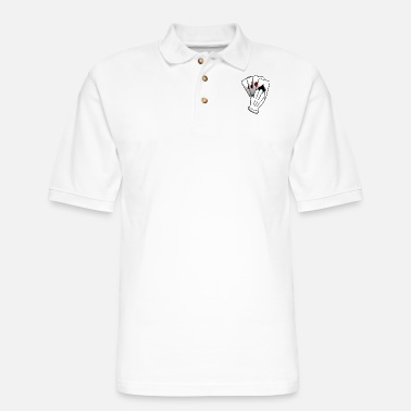 Playing playing cards with hand - Men's Pique Polo Shirt