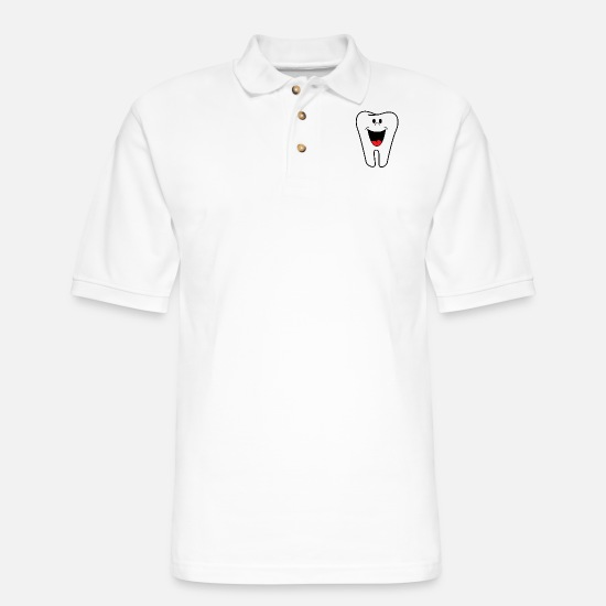 Tooth Polo Shirts - Tooth - Men's Pique Polo Shirt white