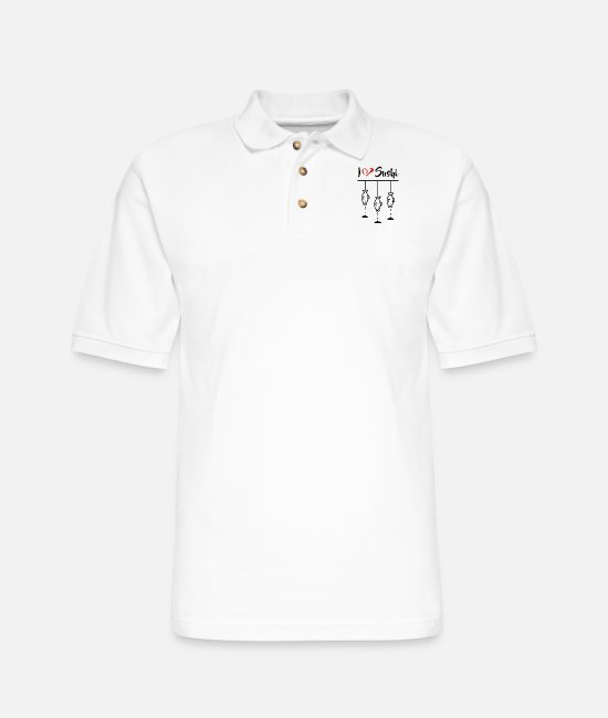 Heart Polo Shirts - I Love Sushi - Japan Fish - Men's Pique Polo Shirt white