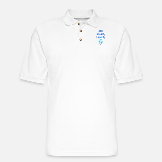 Empowerment Polo Shirts - Make yourself a priority. Inspirational quote. - Men's Pique Polo Shirt white