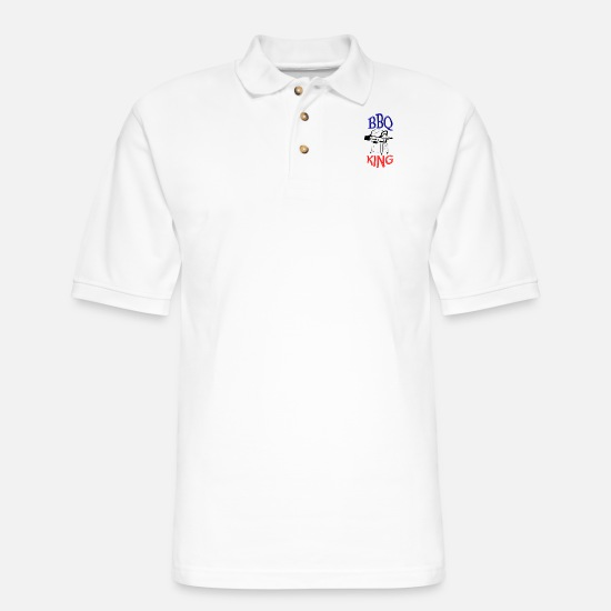 Birthday Polo Shirts - bbq king - Men's Pique Polo Shirt white