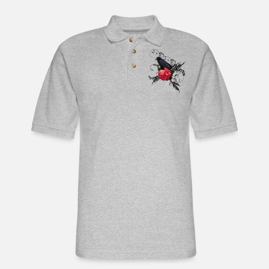 Rose  Polo Shirts - Wonderful crow with rose - Men's Pique Polo Shirt heather gray