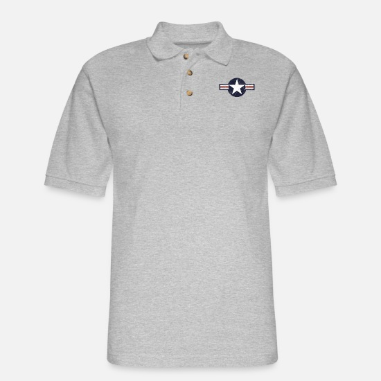 Vintage Polo Shirts - USAF US Air Force Roundel - Men's Pique Polo Shirt heather gray
