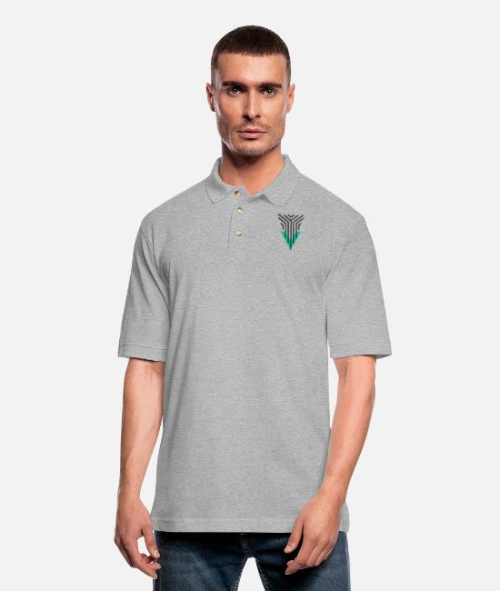 Artist Polo Shirts - Shape Triangle Lines - Men's Pique Polo Shirt heather gray
