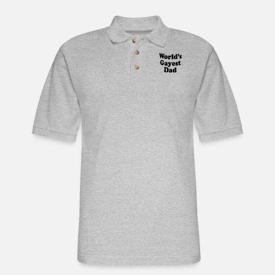 Motorcycle Polo Shirts - Worlds gayest dad 01 - Men's Pique Polo Shirt heather gray