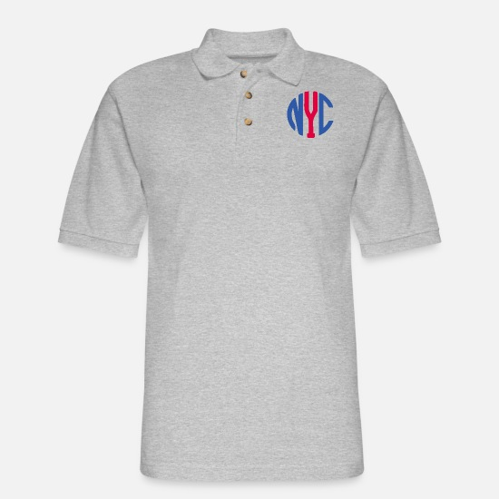 York Polo Shirts - New York City monogram - Men's Pique Polo Shirt heather gray