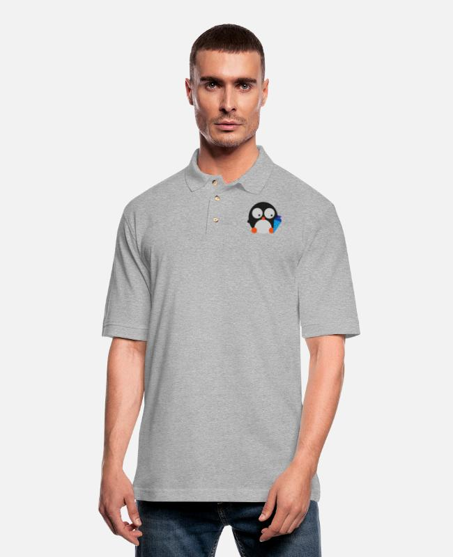 School Polo Shirts - Penguin Candy Cone blue - Men's Pique Polo Shirt heather gray