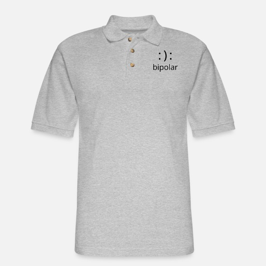 Paranoid Polo Shirts - bipolar - Men's Pique Polo Shirt heather gray