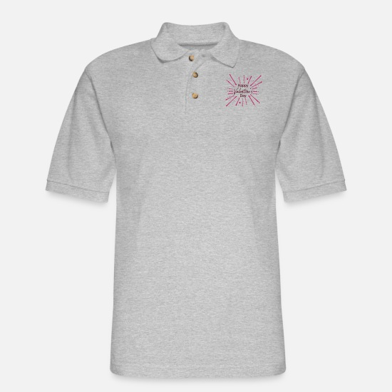 Happy New Year Polo Shirts - color splash drops graffiti lights happy valentine - Men's Pique Polo Shirt heather gray