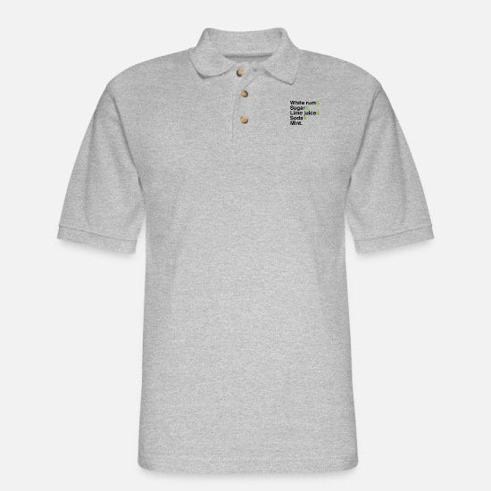 Gift Idea Polo Shirts - Mojito Cocktail Ingredients - Men's Pique Polo Shirt heather gray
