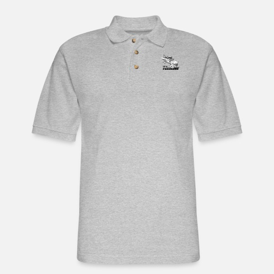 Land Polo Shirts - IFV Foxhound Drawing - Men's Pique Polo Shirt heather gray