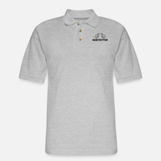 Mummy Polo Shirts - babysitter thumbs - Men's Pique Polo Shirt heather gray