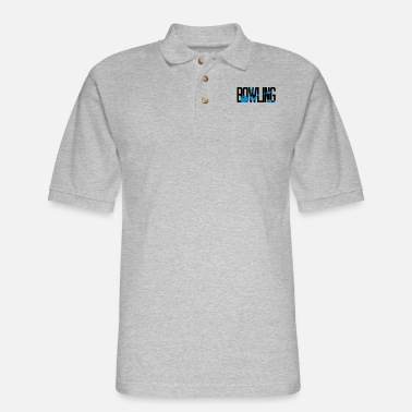cool text logo hit bowling pins overturn strike sp - Men's Pique Polo Shirt