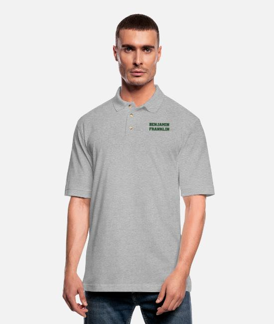 Rap Polo Shirts - BENJAMIN FRANKLIN - Men's Pique Polo Shirt heather gray