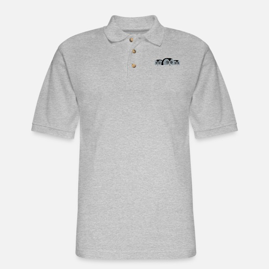 Nocturnal Polo Shirts - 3 owls behind wall Funny - Men's Pique Polo Shirt heather gray