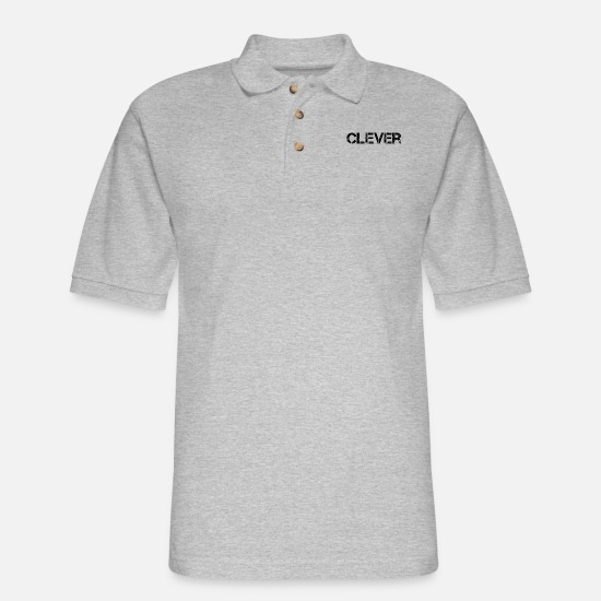 Sayings Polo Shirts - Clever Smart Intelligence - Men's Pique Polo Shirt heather gray