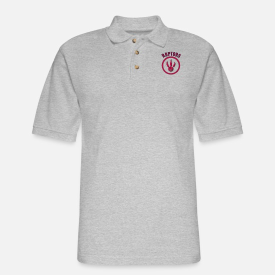 Dinosaurs Polo Shirts - Raptors Throwback - Men's Pique Polo Shirt heather gray
