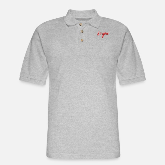 Love Polo Shirts - I NEED MISS WANT LOVE YOU - Men's Pique Polo Shirt heather gray