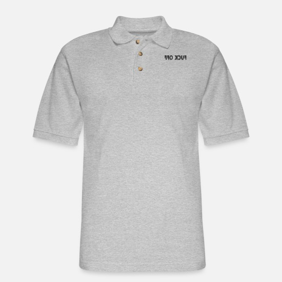 Backwards Polo Shirts - Fuck Off Backwards - Men's Pique Polo Shirt heather gray