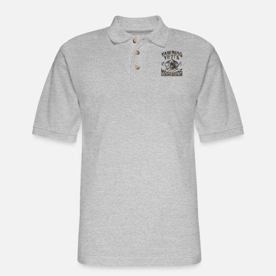 Yeti Polo Shirts - Yawning Yetis Moonshine - Men's Pique Polo Shirt heather gray