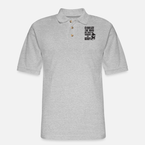 Body Builder Polo Shirts - Civilize The Mind But Make Savage The Body - Men's Pique Polo Shirt heather gray