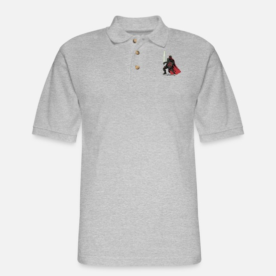 Mandalorian Polo Shirts - Mandalorian Knight - Men's Pique Polo Shirt heather gray