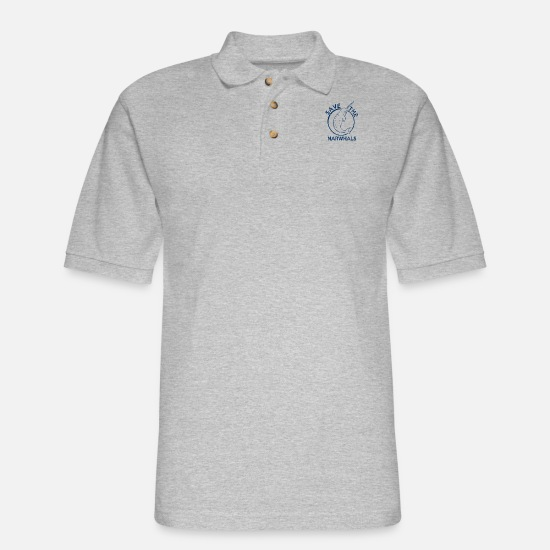 Funny Pregnancy Polo Shirts - Maternity Save The Narwhals Funny Pregnancy Ocean - Men's Pique Polo Shirt heather gray