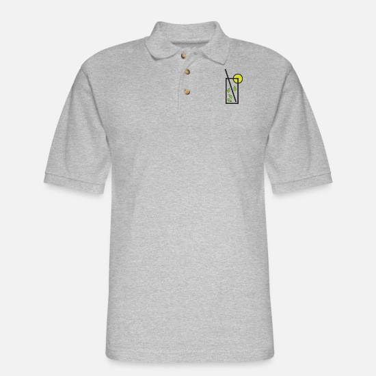 Mojito Polo Shirts - mojito - Men's Pique Polo Shirt heather gray