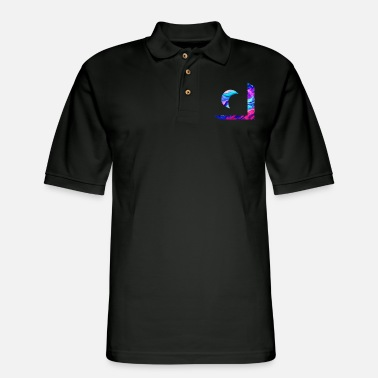 Illusion Beautiful Crescent Moon Holograph - Men's Pique Polo Shirt