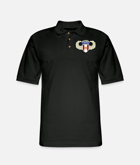 Troops Polo Shirts - Army 44th Medical Brigade Wings - Men's Pique Polo Shirt black