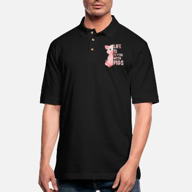 Life Is Better With A Pig Farm Farmer Girls Life Is Better With Pigs - Men's Pique Polo Shirt