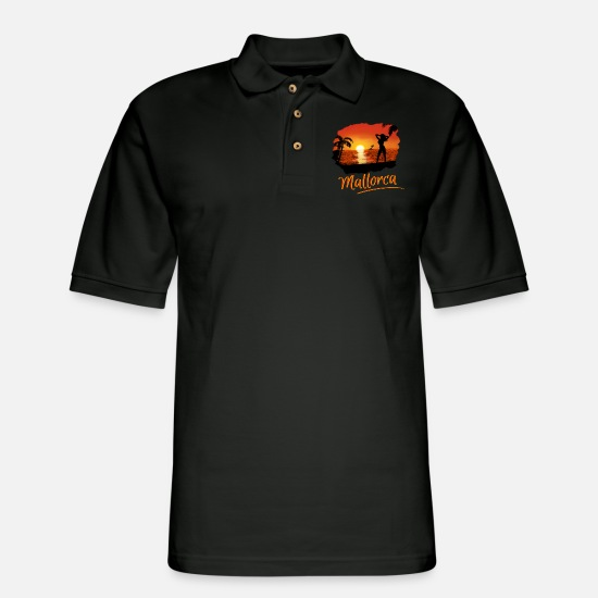 Majorca Polo Shirts - Mallorca - Summer sunset girl red - Men's Pique Polo Shirt black