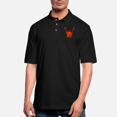 Shouter Heavy metal electric guitar drums microphone music - Men's Pique Polo Shirt