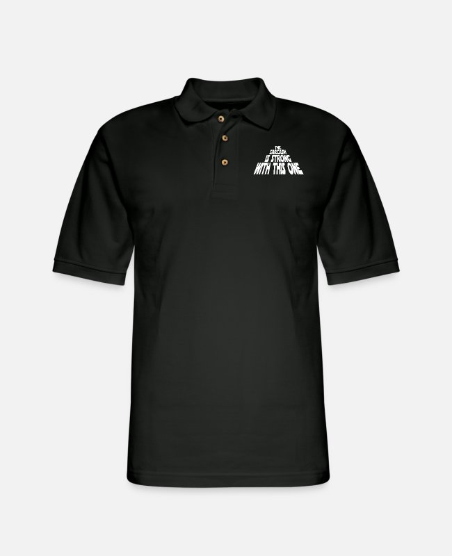 Quote Polo Shirts - The Sarcasm is Strong - Men's Pique Polo Shirt black