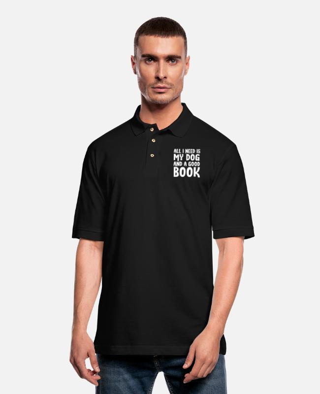 Read Polo Shirts - All i need is my dog and a good book - Men's Pique Polo Shirt black
