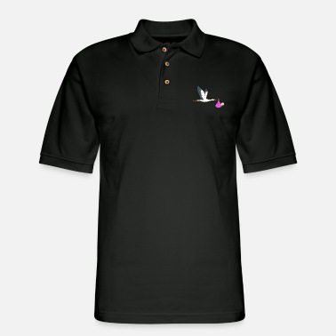Stork Stork brings baby - pink cloth with baby - Men's Pique Polo Shirt