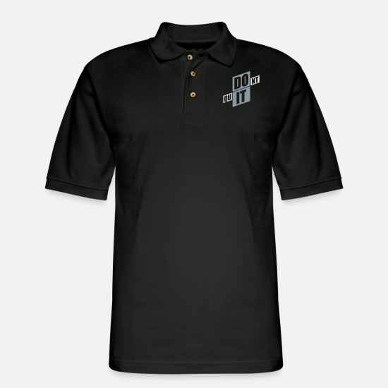 Cool Story Polo Shirts - slogan endurance fitness cool text logo do not qui - Men's Pique Polo Shirt black