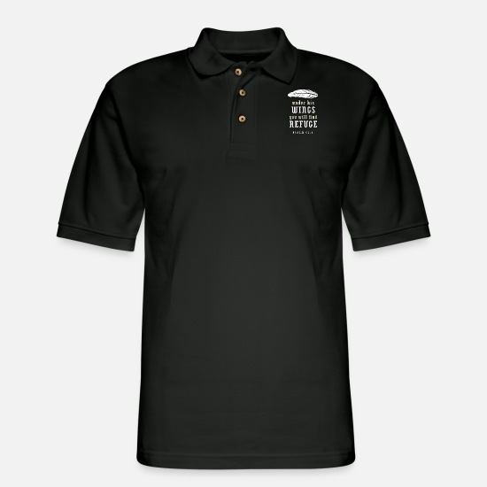 Bible Polo Shirts - Psalm 91 4 - Men's Pique Polo Shirt black