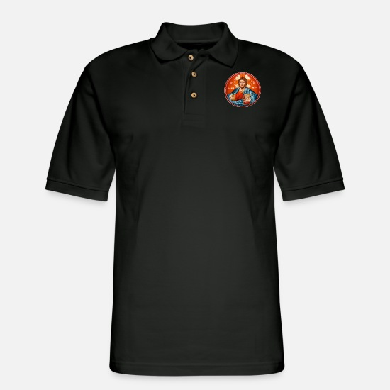 Orthodox Polo Shirts - Greek Orthodox Jesus Christ Mural - Men's Pique Polo Shirt black